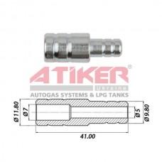 Фотоснимок Тосольный переходник 12x10 (металл) ATIKER для шланга антифриза  Atiker
