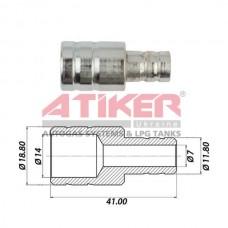 Фотография Тосольный переходник 19x12 (металл) ATIKER для шланга антифриза ТМ Atiker