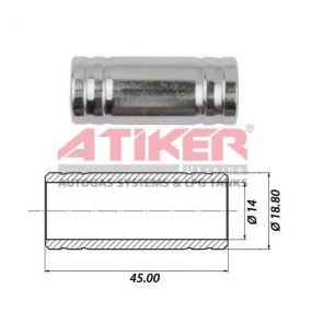 Зображення Тосольний перехідник 19x19 (метал) ATIKER до шлангу антифризу  виробника Atiker