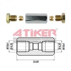 Фотка Прямой переходник 6х6 Atiker (гайки+ниппель) под газовую трубку компании Atiker